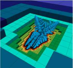 Simulation of crystal growth on Octree grid.