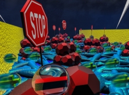 """An artist's rendition (appearing on the cover of the journal Advanced Functional Materials) of the charge carrier """"traps"""" created by the addition of certain molecules to polymer semiconductor materials."""